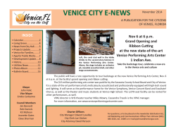 VENICE CITY E-NEWS  INSIDE Nov 6 at 6 p.m.
