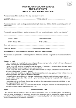 THE SIR JOHN COLFOX SCHOOL TRIPS AND VISITS MEDICAL INFORMATION FORM