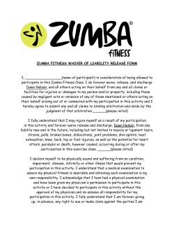 ZUMBA FITNESS WAIVER OF LIABILITY RELEASE FORM