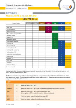 Clinical Practice Guidelines APPENDIX 2 MEDICATIONS & SKILLS MATRIX NEW FOR 2014