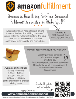 Amazon is Now Hiring Part-Time Seasonal Fulfillment Associates in Pittsburgh, PA!