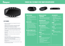THINGSEE ONE, THE WORLD'S FIRST SMART DEVELOPER DEVICE MOBILE APPLICATION HARDWARE SPECIFICATION