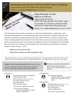 Real Estate and Land Use Fall Forum 2014: Focus on...