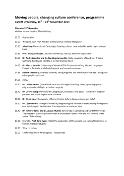 Moving people, changing culture conference, programme Cardiff University, 13 – 14 November 2014