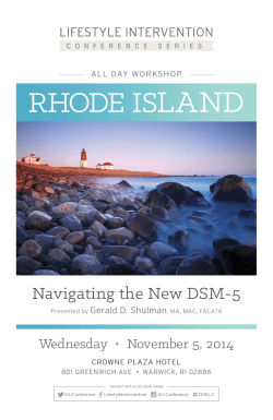LAND RHODE IS Navigating the New DSM-5 Wednesday