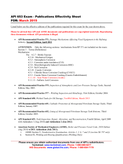 API 653 Exam - Publications Effectivity Sheet FOR:  March 2015