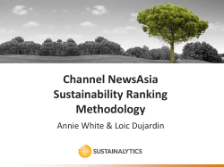 Channel NewsAsia Sustainability Ranking Methodology Annie White & Loic Dujardin