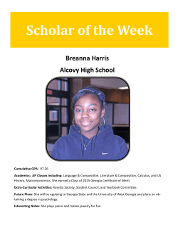 Scholar of the Week Breanna Harris Alcovy High School