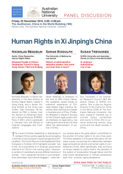 Human Rights in Xi Jinping's China PANEL DISCUSSION N B
