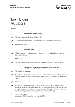 Taner Baybars RUL MS 3263 Library Special Collections Service