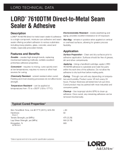 LORD 7610DTM Direct-to-Metal Seam Sealer & Adhesive LORD TECHNICAL DATA