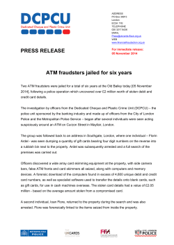 PRESS RELEASE ATM fraudsters jailed for six years