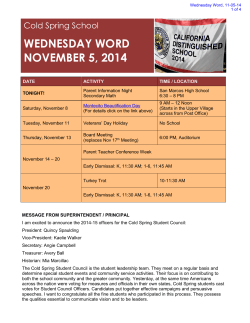 WEDNESDAY WORD NOVEMBER 5, 2014 Cold Spring School