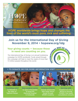 Join us for the International Day of Giving worldwide HOPE