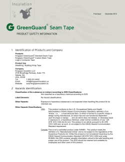 GreenGuard Seam Tape PRODUCT SAFETY INFORMATION