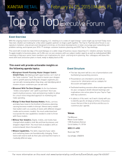 Top to Top Executive Forum February 24-25, 2015 | Miami, FL Event Overview
