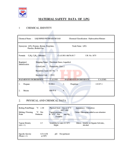 MATERIAL SAFETY  DATA  OF  LPG  1 CHEMICAL IDENTITY