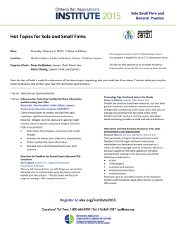 Hot Topics for Sole and Small Firms   Sole Small Firm and  General  Practice
