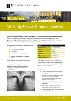 MBA Big Data & Business Analytics  |
