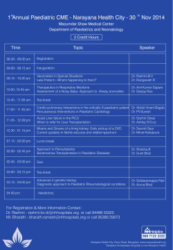 1 Annual Paediatric CME - Narayana Health City - 30 ...