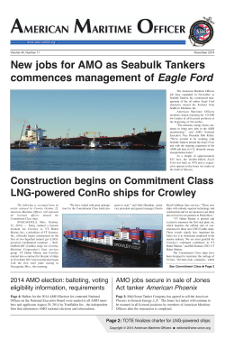 New jobs for AMO as Seabulk Tankers Eagle Ford