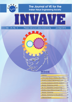 INVAVE The Journal of VE for the INSIDE