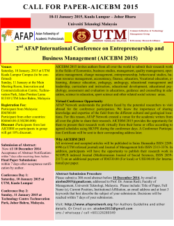 CALL FOR PAPER-AICEBM 2015 2 AFAP International Conference on Entrepreneurship and