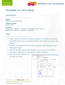 Template on Card Setup SD 1012 Specifications