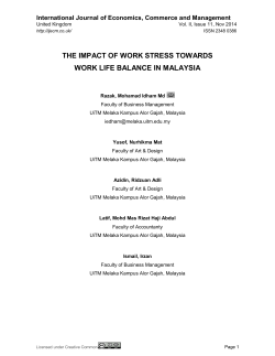 THE IMPACT OF WORK STRESS TOWARDS WORK LIFE BALANCE IN MALAYSIA
