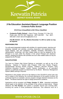 .5 fte Education Assistant-Speech Language Position Crolancia Public School –