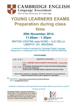 YOUNG LEARNERS EXAMS Preparation during class time 29th November 2014