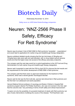 Biotech Daily Neuren: 'NNZ-2566 Phase II Safety, Efficacy For Rett Syndrome'