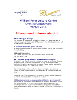 William Penn Leisure Centre Gym Refurbishment Winter 2014