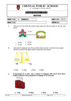 CHENNAI  PUBLIC  SCHOOL MATHS Weekend Worksheet - 2014-1544