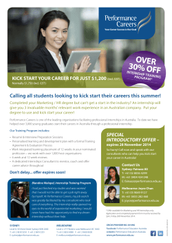 Calling all students looking to kick start their careers this...  KICK START YOUR CAREER FOR JUST $1,200