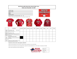North Greenville Elementary School Order Form Orders due November 14, 2014