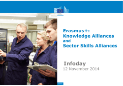 Infoday Erasmus+: Knowledge Alliances Sector Skills Alliances