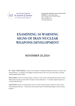 EXAMINING 10 WARNING SIGNS OF IRAN NUCLEAR WEAPONS DEVELOPMENT