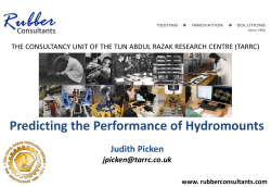 Predicting the Performance of Hydromounts Judith Picken
