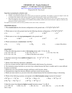 CHEMISTRY 103 – Practice Problems #3  (Resource page)