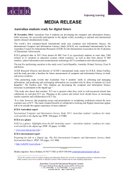 MEDIA RELEASE Australian students ready for digital future