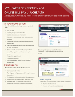 MY HEALTH CONNECTION and ONLINE BILL PAY at UCHEALTH MY HEALTH CONNECTION