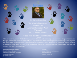 Dr. Derek Greenfield The School of Education Presents the American Education Week