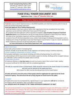 FOOD STALL TENDER DOCUMENT 2015