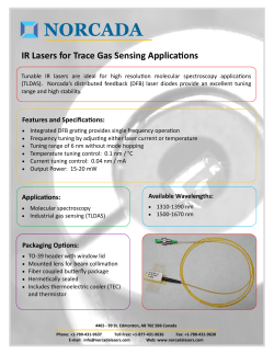NORCADA IR Lasers for Trace Gas Sensing Applica ons