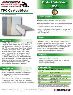 TPO Coated Metal Product Data Sheet TPO Features & Benefits