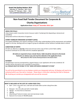 Non-Food Stall Tender Document for Corporate & Charity Organisations Applications Close: