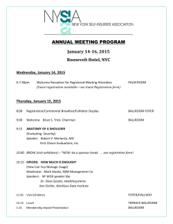 ANNUAL MEETING PROGRAM January	14‐16,	2015 Roosevelt	Hotel,	NYC