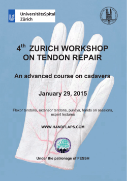 4 ZURICH WORKSHOP ON TENDON REPAIR An advanced course on cadavers