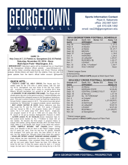 F  2014 GEORGETOWN FOOTBALL SCHEDULE